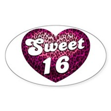 Sweet 16 Leopard Heart Decal