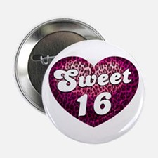 "Sweet 16 Leopard Heart 2.25"" Button"
