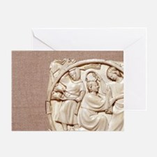 Lovers in a garden, Troubadour ivory Greeting Card