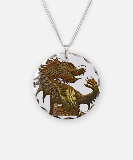 Funny Dragon on castle Necklace