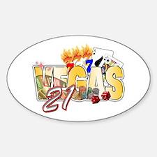 Vegas 21st Birthday Sticker (Oval)