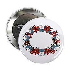 "Poinsetta Wreath 2.25"" Button"
