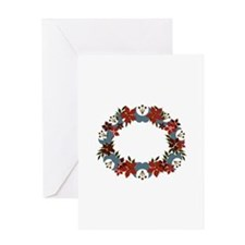 Poinsetta Wreath Greeting Cards