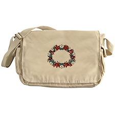 Poinsetta Wreath Messenger Bag
