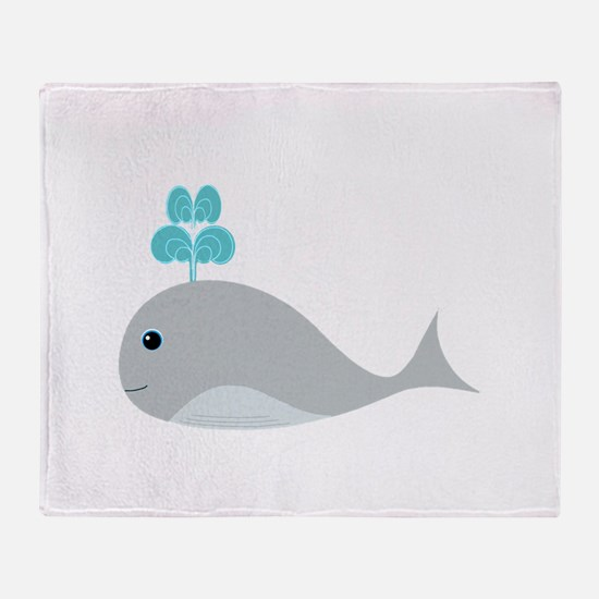 Cute Gray Baby Whale Throw Blanket
