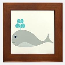 Cute Gray Baby Whale Framed Tile