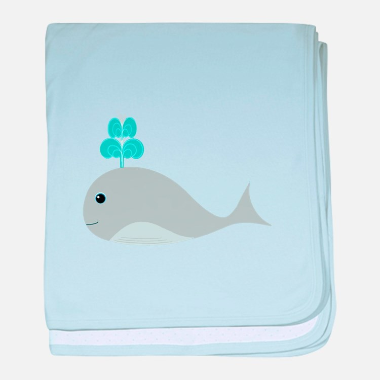 Cute Gray Baby Whale baby blanket
