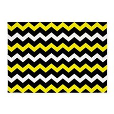 Black Yellow And White Chevron 5'x7'Area Rug