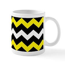Black Yellow And White Chevron Mugs