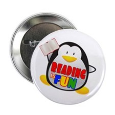 "Reading is Fun Penguin 2.25"" Button"