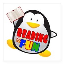 "Reading is Fun Penguin Square Car Magnet 3"" x 3"""