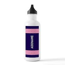Navy Pink Quatrefoil P Water Bottle