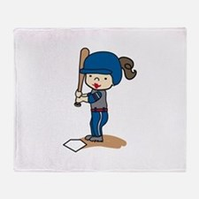 Girl Batter Throw Blanket