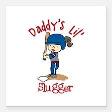 "Daddys Lil Slugger Square Car Magnet 3"" x 3"""