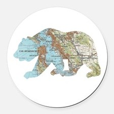 San Francisco Soviet Bear Map Round Car Magnet