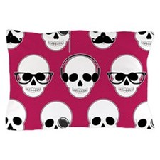 Hipster Skulls Pattern Pink Pillow Case