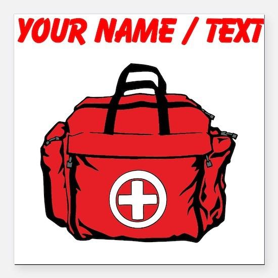 "Custom First Aid Kit Square Car Magnet 3"" x 3"""