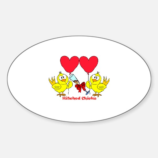 Hitched Chicks 2 Oval Decal