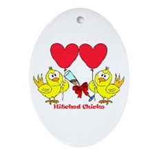 Hitched Chicks 2 Oval Ornament