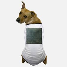 Green script linen texture Dog T-Shirt