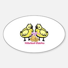 Hitched Chicks Oval Decal
