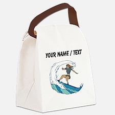Custom Woman Surfing Canvas Lunch Bag