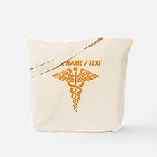 Custom Orange Medical Caduceus Tote Bag