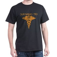 Custom Orange Medical Caduceus T-Shirt