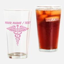 Custom Pink Medical Caduceus Drinking Glass