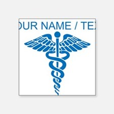 Custom Blue Medical Caduceus Sticker