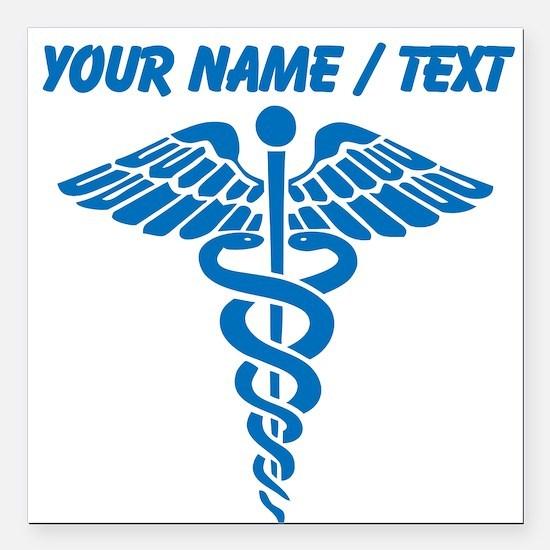 "Custom Blue Medical Caduceus Square Car Magnet 3"""