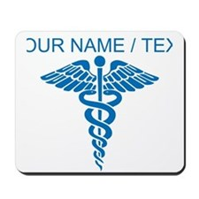 Custom Blue Medical Caduceus Mousepad