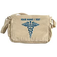 Custom Blue Medical Caduceus Messenger Bag