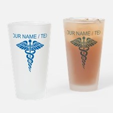 Custom Blue Medical Caduceus Drinking Glass
