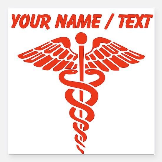 "Custom Red Medical Caduceus Square Car Magnet 3"" x"