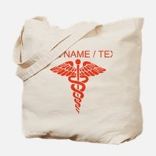 Custom Red Medical Caduceus Tote Bag