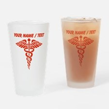 Custom Red Medical Caduceus Drinking Glass