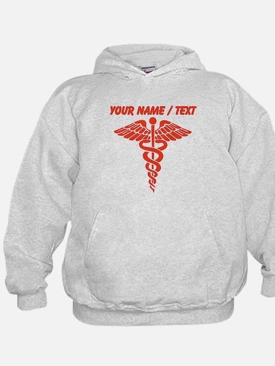 Custom Red Medical Caduceus Hoodie
