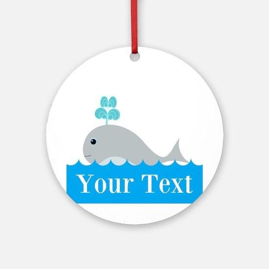 Personalizable Gray Whale Ornament (Round)
