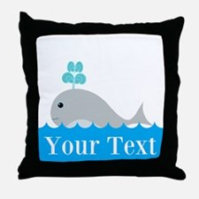 Personalizable Gray Whale Throw Pillow