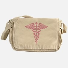 Pink Medical Caduceus Messenger Bag
