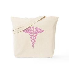 Pink Medical Caduceus Tote Bag