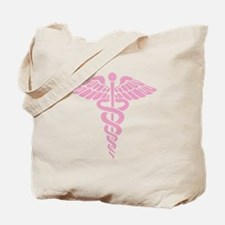 Pink Medical Caduceus Tote Bag