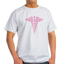 Pink Medical Caduceus T-Shirt