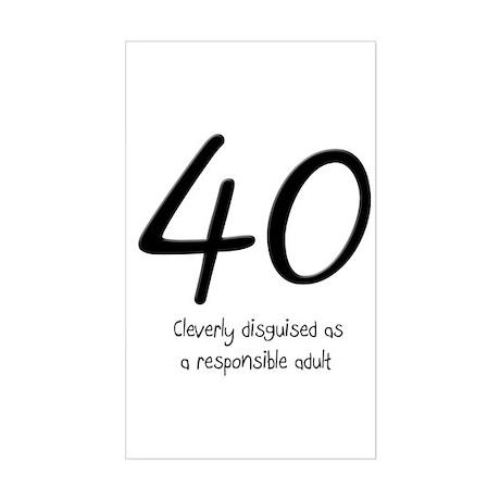 40th Birthday Sticker (Rectangle)