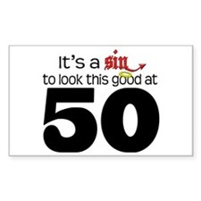 Look Good 50 Birthday Rectangle Decal