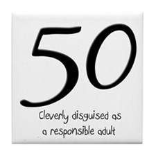 50th Birthday Disguise Tile Coaster