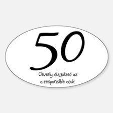50th Birthday Disguise Sticker (Oval)
