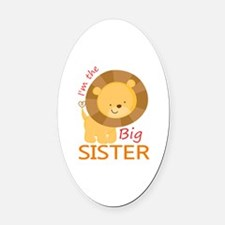 Big Sister Cute Lion Oval Car Magnet
