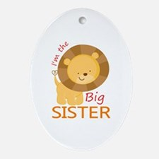 Big Sister Cute Lion Ornament (Oval)
